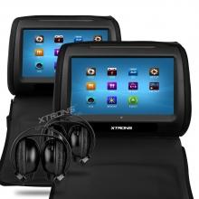 Подгллавници с монитор за кола HD908TTDB, SD,USB,DVD 9 инча +  2БРОЯ СЛУШАЛКИ