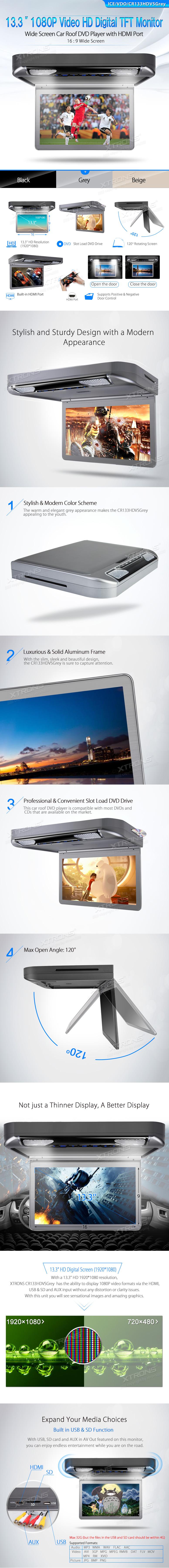 Монитор за таван CR133HDVSGrey DVD, USB, SD слот, 13.3 инча