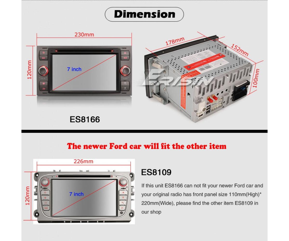 8-ядрена навигация двоен дин за Ford ES8166F,  Android 10, 4GB RAM, 7 инча