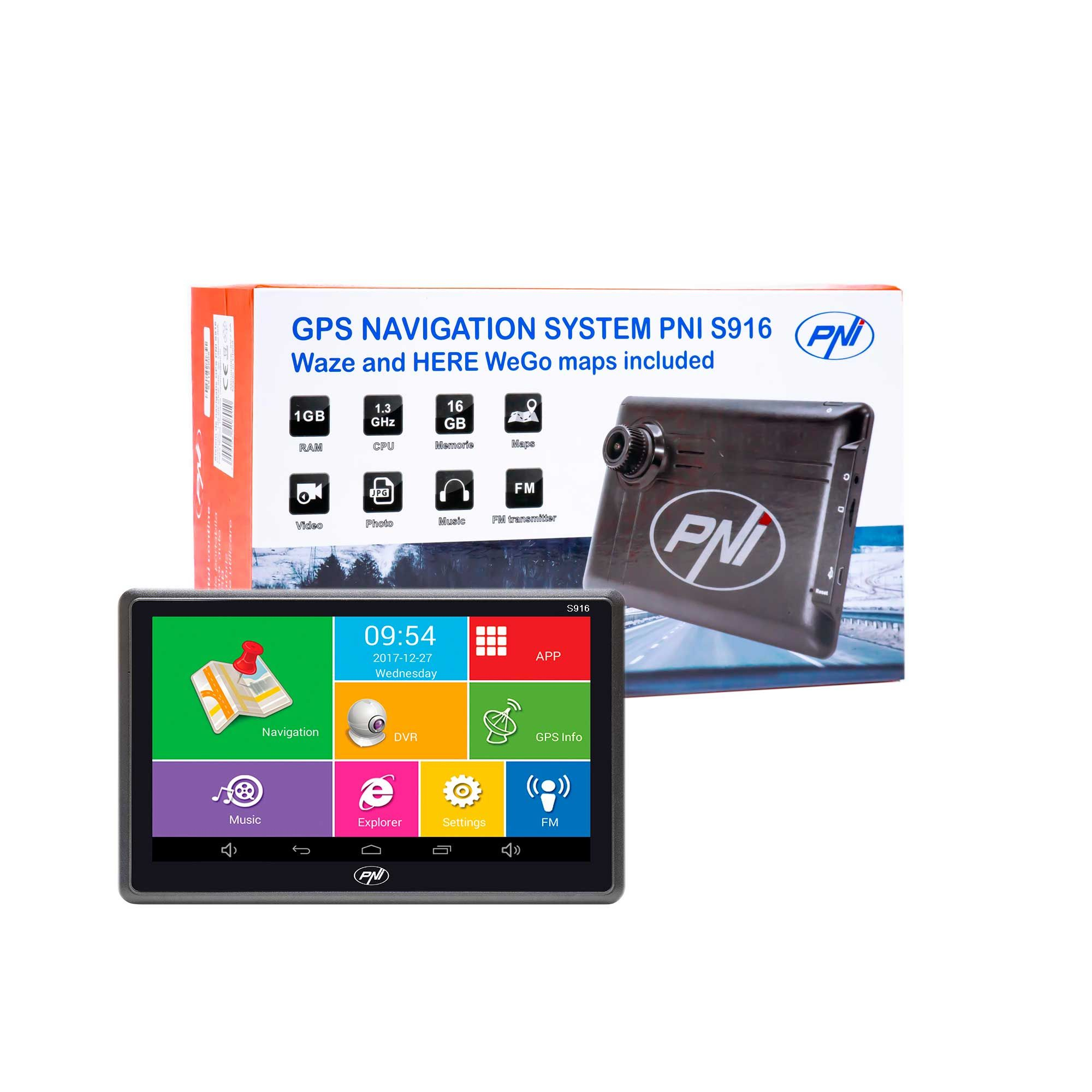 GPS навигация + видео регистратор PNI S916, 7, Android 6.0, 16GB, 1GB RAM