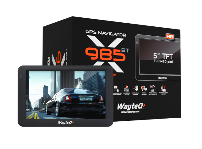 Двуядрена GPS навигация WayteQ x985BT - 5 инча, 800mhz, 256MBRAM, Bluetooth