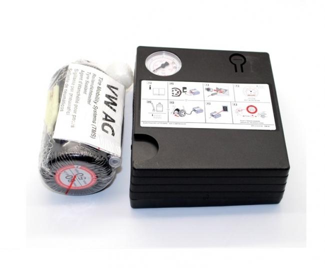 Оригинален компресор за помпене на гуми+ пяна лепило VW/ AUDI/ SEAT /SKODA МОДЕЛ:1