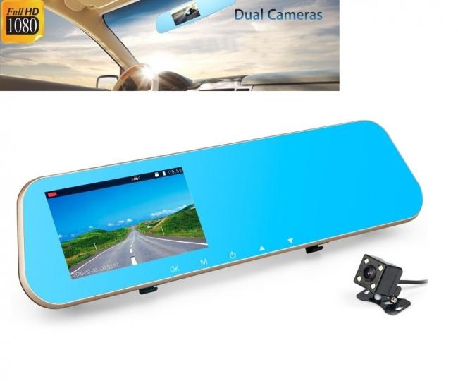 Огледало 4.3 инча с видеорегистратор + камера за паркиране AT BTK15L 2CAM FULL HD