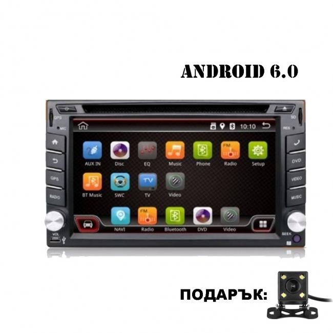 Универсална мултимедия двоен дин AT UA62DVD GPS, WiFi, Android 6.0, 6.2 инча