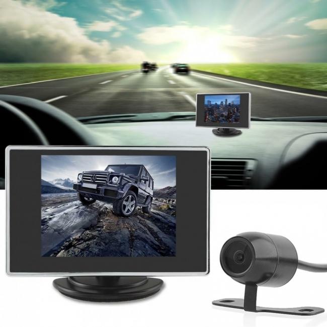 Комплект 3.5 инчов LCD монитор + камера за задно виждане AC-308B