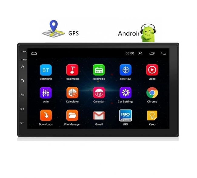 Четириядрена навигация двоен дин AT 7023 7 инча, Android 10, 2GB RAM, GPS, WiFi + камера