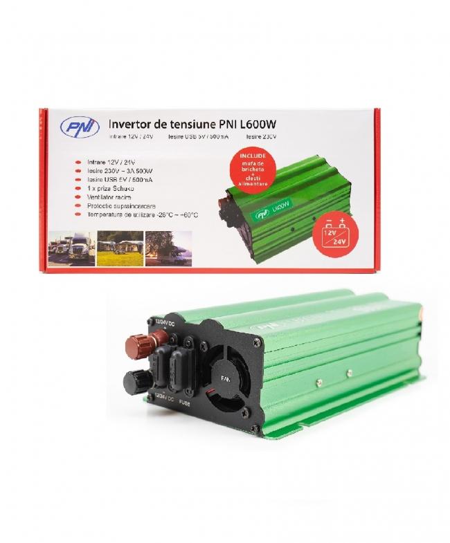 Инвертор с двойно захранване PNI-L600W-DV, 12V/24V, USB, 2x30A