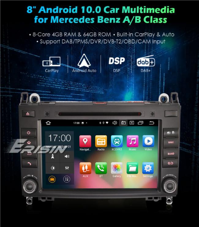 GPS навигация двоен дин за Mercedes A/B Class ES8121B, 4GB RAM, 8 инча, Android 10
