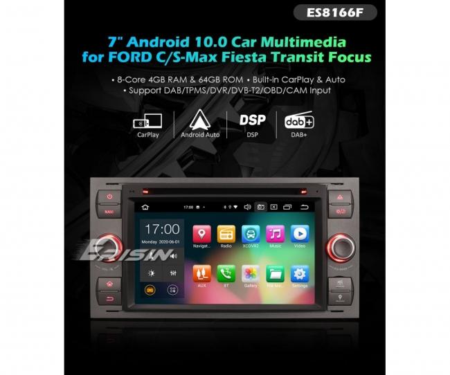 8-ядрена навигация двоен дин за Ford Fiesta, Galaxy, Mondeo ES8166F,  Android 10, 4GB RAM, 7 инча