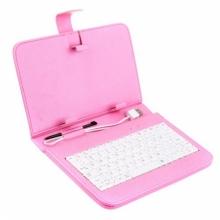 Калъф с клавиатура за таблет 9 инча - USB - РОЗОВ