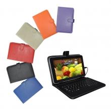 Калъф с клавиатура за таблет 8 инча - micro USB - БЯЛ, ЧЕРЕН, СИН, РОЗОВ