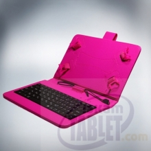 Калъф с кирилизирана клавиатура за таблети 10.1 инча - micro USB с ластици - Розов