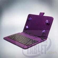 Калъф с кирилизирана клавиатура за таблети 10.1 инча - micro USB с ластици - Лилав