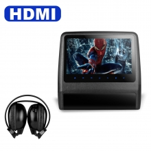Подглавник за кола HD9LXBlack 9 инча СЪС СЛУШАЛКИ HD TFT Монитор, HDMI, DVD, USB, SD