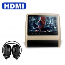 Подглавник за кола HD9LXCream 9 инча СЪС СЛУШАЛКИ HD TFT Монитор, HDMI, DVD, USB