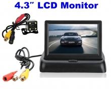 Промоция!Водоустойчива камера за задно виждане + 4.3 инча сгъваем монитор