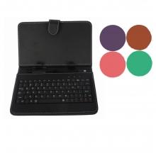 Калъф с клавиатура за таблет 9 инча - micro USB - розов, червен, лилав, бял