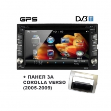 Навигация двоен дин с WinCE, GPS, DVD, TV + ПАНЕЛ ЗА TOYOTA COROLLA VERSO