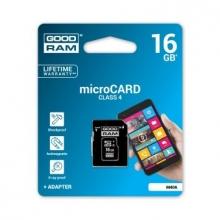 Карта памет GOODRAM 16GB MICRO CARD class 4 + АДАПТЕР