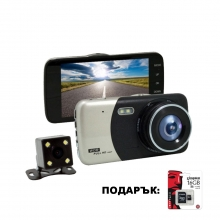 Видеорегистратор - DVR две камери AT BTK43 с 4 инча дисплей 5mpx + 16GB карта